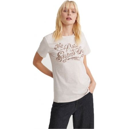 Superdry THE REAL TONAL SEQUIN ENTRY TEE